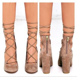 Steve Madden Voxx Sand Suede Leather Lace-Up Heels
